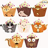 24pcs Woodland Animals Cupcake Wrappers for Woodland Garland Forest Theme Party Supplies