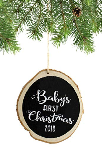 SAM + OLLIE FURNISHINGS 2018 Baby's 1st Christmas Ornament, Rustic
