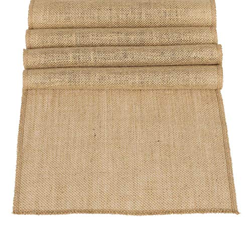 Ling's moment 12 x 108 Inches Jute Farmhouse Table Runner Burlap Table Decor Bamboo for Fall Autumn Rustic Wedding Decorations Woodland Baby Shower Country Kitchen Boho Out Table Decor -