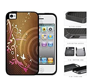 Pink Gradient Floral Pattern With Stars And Butterfly 2-Piece Dual Layer High Impact Rubber Silicone Cell Phone Case Apple iPhone 4 4s