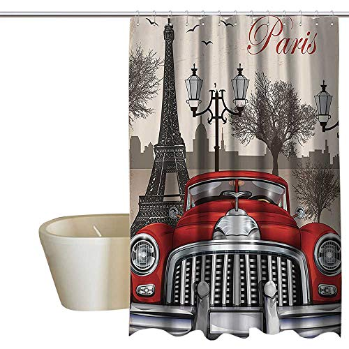 (1960S Decor Hotel Style Shower Curtain European Parisian City Scenery with Old Auto Bathroom Window Curtains W48 x L72 Mousque and Eiffel Silhouette ArtworkRed Cream)