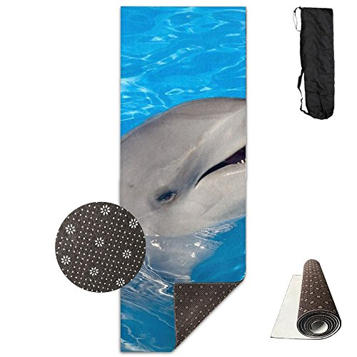Jessent Yoga Mat Non Slip Cute Dolphin Printed 24 X 71 Inches Premium For Fitness Exercise Pilates With Carrying -