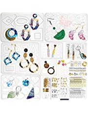 Resin Moulds and Supplies Set 139-count for Jewellery Making Geometric Hoop Earrings, Necklace Pendant, Filigree Charms