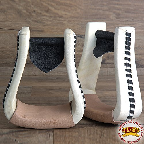 HILASON Oversize Western Rawhide Leather Horse Saddle Stirrup Pair 6″ x 3″ x 6″