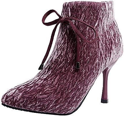 c679f17b LuckyGirls Botas para Mujer Botines con Bowknot Botas Casual Moda Zapatos  de Tacón Calzado Zapatillas Tacón de Aguja 8.5cm. Cargando imágenes.