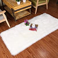YJ.GWL Super Soft Faux Sheepskin Shaggy Fluffy Fur Rugs Silky Plush Carpet Anti-Skid White Faux Fur Area Rugs for Bedroom Carpet Floor Mat 3 x 5