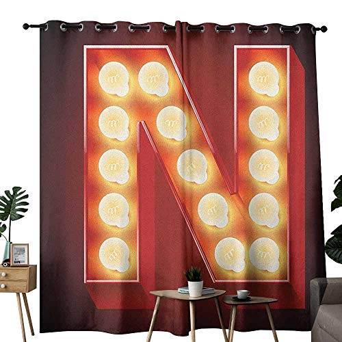 Yellow Gingham Hanging Letter - duommhome Letter N Fresh Curtains Old Fashioned Movie Theater Carnival Casino Entertainment Night Life 70%-80% Light Shading, 2 Panels,W72 x L96 Vermilion Yellow Black
