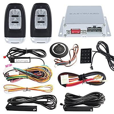 EASYGUARD Smart Key Rfid PKE Car Alarm System Remote Engine Start Starter Push Start Button & Touch Password Entry Keyless Go System Universal Version