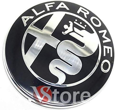2 Fries Alfa Romeo Emblem Schwarz Spiegel Logo 74mm Motorhaube Vorne Hinten Emblem Schwarz 147 156 159 Brera Mito Metall Beleuchtung