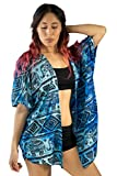 PIYOGA Women's Kimono Cardigan Yoga Beach Cover-up Blouse, Boutique Bohemiam Lounge - Short Length (Confidence of The Elephants (Tie Dye Blue))