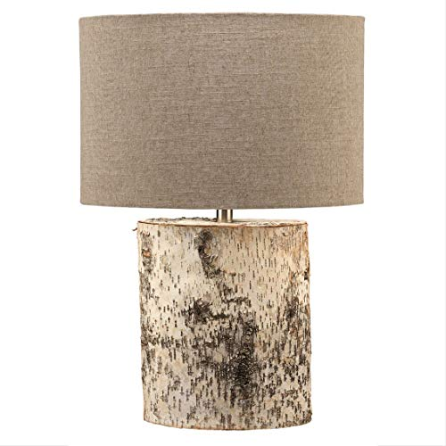 (My Swanky Home Luxe Birch Bark Oval Cylinder Table Lamp | Organic Shape Branch Woodland Natural)