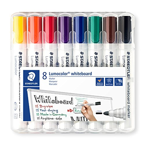 Staedtler 351 WP8 2 mm Lumocolor Bullet Tip Whiteboard Marker - Assorted...