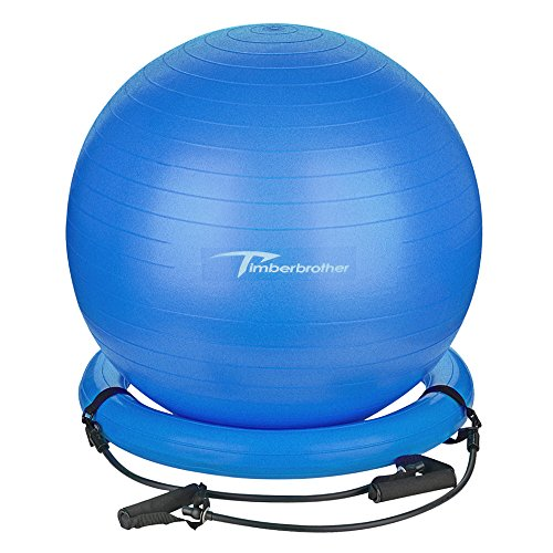 Timberbrother Anti-Burst Exercise Ball / Stability Ball 65cm Diameter with Resistance Bands & Pump for Yoga, Pilates, Fitness, Physical Therapy, Gym and Home Exercise (Blue with ring & bands)