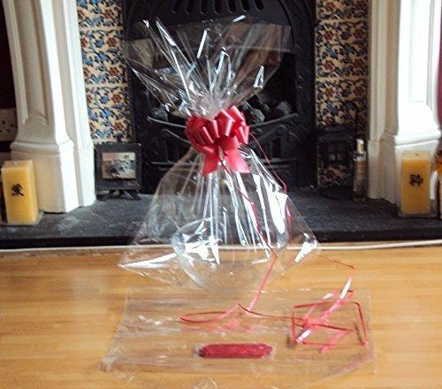 JEMPAK UK?? 20 x 30 large cellophane basket bag with RED pull bow for gift packaging & hamper making by JEMPAK UK??