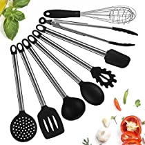 Kitchen Utensil Set,8 Piece Silicone Cooking Utensils-Nonstick Utensil Set-Silicone and Stainless Steel Kitchen Tool-Serving Tongs,Spoon,Spatula Tools,Slotted Turner,PastaServer,Ladle,Strainer,Whisk