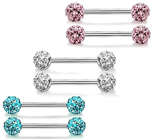 (ORAZIO 6 Pcs 316L Stainless Steel Crystal Nipple Piercing 14G Barbell Belly Button Ring for Women)