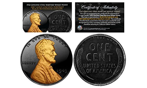 - 1943 WWII Genuine Abraham Lincoln Steelie Steel War Wheat Penny BLACK RUTHENIUM with Gold Lincoln Highlights