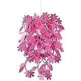 MiniSun – Bello paralume rosa con fiori e fogliami sospesi – lampadario per lampada a sospensione