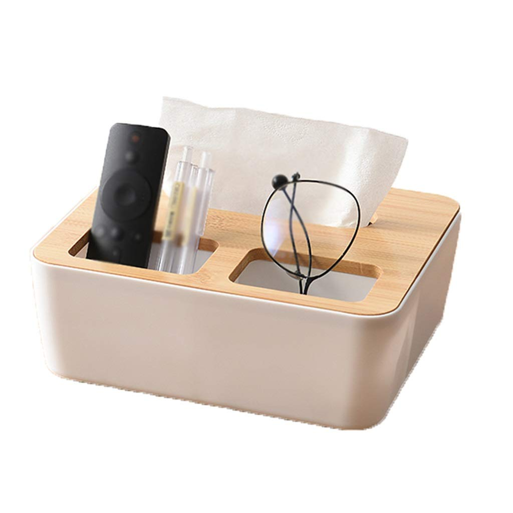 Tissue Box Bamboo Wood Cover Plastic Storage Storage Box Fashion Home Detachable Decorative Paper Towel Rack (Color : H)
