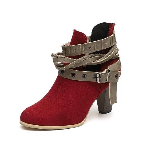 QUICKLYLY Botas de Mujer,Botines para Adulto,Zapatos Invierno 2018,Cortos De Cuero Caballero Señoras Martim: Amazon.es: Zapatos y complementos