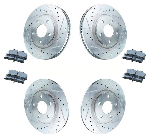 (1997 - 2004 Chevrolet Chevy Corvette C5 ( ALL Models ) | 2001 - 2004 Corvette Z06 Models | Front and Rear Cross Drilled / Slotted Brake Rotors + Performance Ceramic Pads)