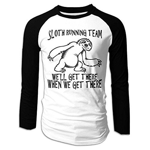 Puppylol Men's Sloth Running Gteam Long Sleeve Raglan T-Shirts M (Gift Basket Quebec)