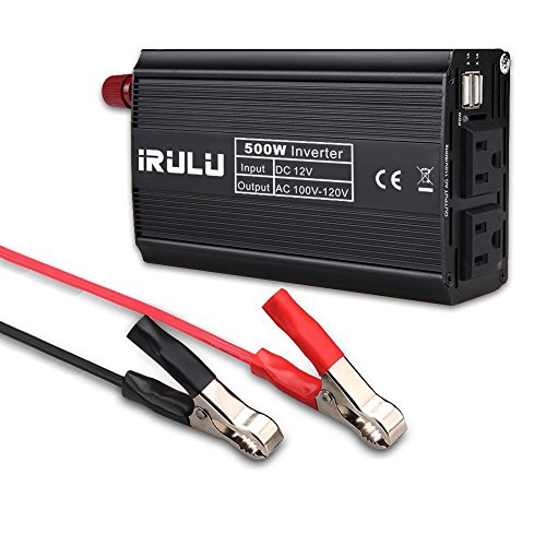 iRULU 500W Auto Power Inverter for Car DC 12V to 110V AC Automatic Converter with 4.2A Dual USB Charger Adapter for Laptop,Game,Blender,Cooler,Cell Phone,Tablet (Black)