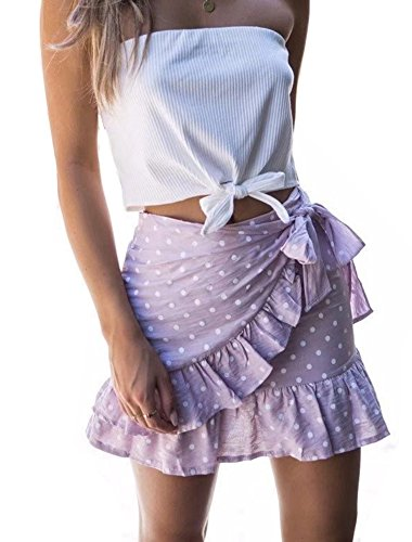 (YNC Fashion Women's Summer Casual Polka Dot Flare Short Mini A Line Skirt, Pink, Medium)
