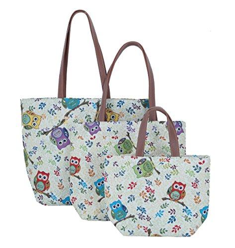 Tasche Shopper Schultertasche Beachtasche Freizeittasche Damentasche Eulen Größe L Fa. Bowatex