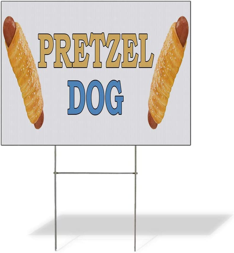 Fastasticdeals Weatherproof Yard Sign Pretzel Dog Food Fair Truck Restaurant White Lawn Garden Concessions 24x18 Inches 1 Side Print