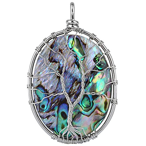 SUNYIK Oval Abalone Shell Tree of Life Pendant Necklace,Silver Plated Wire Wrapped Jewelry