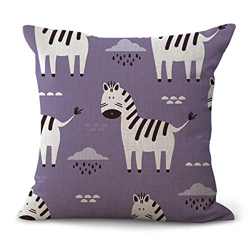 Miracle Dec Zebra Baby Pattern Linen&Polyester Square Throw Pillow Covers Cushion Covers Textured for Sofa(18