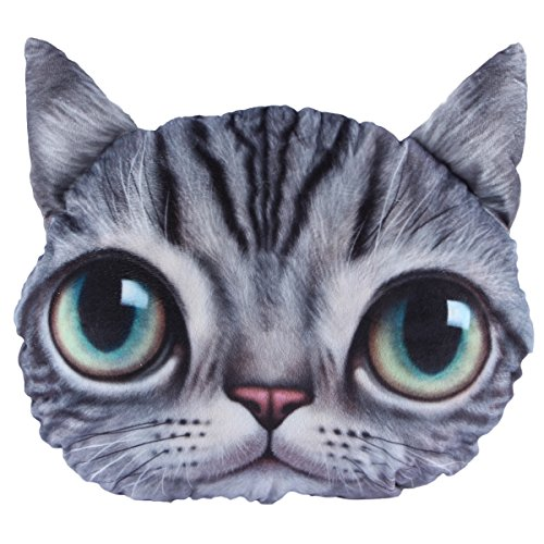 Mkono 3D Effect Big Cat Face Throw Pillow Cartoon Sofa Cushion Lovely Cat Christmas Gift, Big Eyes Gray Cat