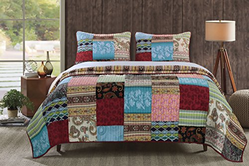 Four Seasons Quilt Shop - Greenland Home 3 Piece Bohemian Dream Quilt Set, King