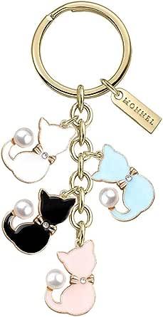 Monnel New Arrival Cute Multicoloured Cat Pets Charms Pendants Keychain with Velvet Bag Z557