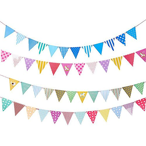 (Party Flags - iMagitek 4 Pack Colorful Multi-Print Triangle Pennant Flags Hanging Decorations for Parties,Holidays,Birthdays,Wedding,Festivals,Nursery - Celebration & Decoration for Indoor or Outdoor)