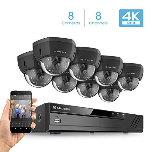 Amcrest 8CH 4K Security Camera System w/ 4K (8MP) NVR, (8) x 4K (8-Megapixel) IP67 Weatherproof Metal Dome POE IP Cameras (3840x2160), 2.8mm Wide Angle Lens, 98ft Nightvision (Black)