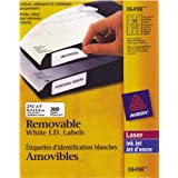 "Avery Removable ID Labels for Laser and Inkjet Printers, 2-5/8"" x 1"", White, Rectangle, 300 Labels, Removable (6498)"