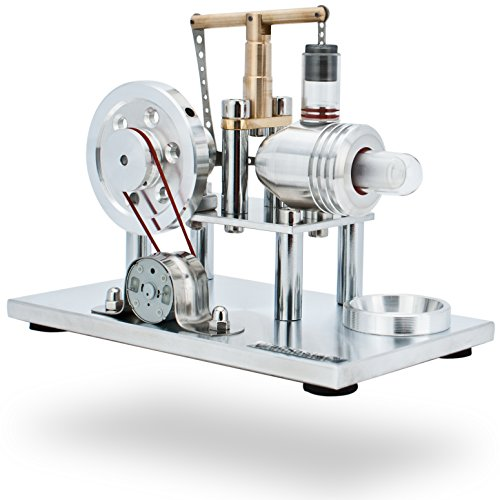 DjuiinoStar Super Stable Hot Air Stirling Engine(Solid Metal Construction), Electricity Generator(Light up LED), Ready to Run