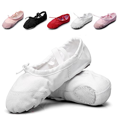 MSMAX Kid Girl's Classic Canvas Practise Ballet Dancing Yoga Shoes,White,13 M US