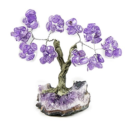 Beverly Oaks Charged Healing Crystals Bonsai Tree On Raw Amethyst Crystal Base ~All Natural Gemstone Tree ~ Money Tree Featuring Healing Stones (Amethyst)
