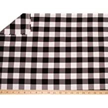 LA Linen 1-Inch Checkered Gingham Polyester Poplin Fabric By the Yard, 60-Inches Wide, Black & White