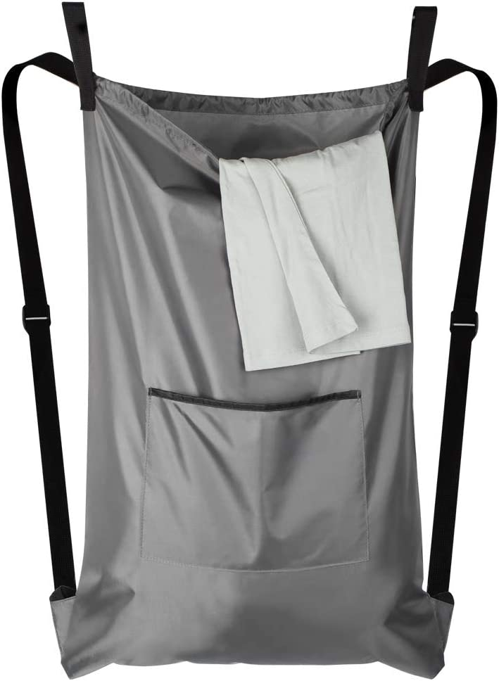 Hanging Laundry Hamper Bag, Space Saving Wall Hanging Laundry Basket with 2 Door Hooks&2suction Hooks,Dirty Clothes Hamper Bag, Large Size, best for Bathroom, Bedroom or Dormitory (Grey with Straps)