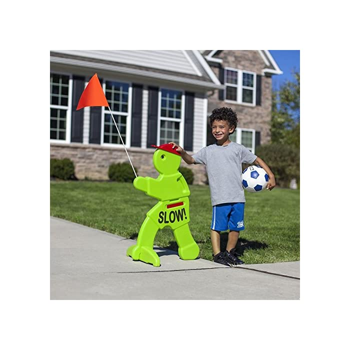 Kids Playing Safety Sign Outside KidAlert Visual Warning Signal Brightly Colored