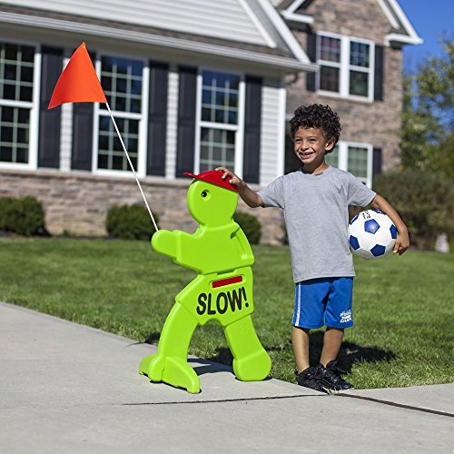 Product Features 4 stakes included to anchor down this kid's warning sign into the ground.