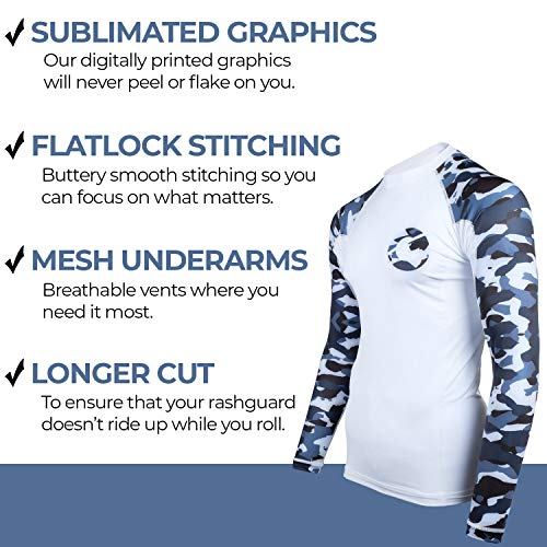 Gold BJJ Jiu Jitsu Rashguard Camo Rash Guard Compression Shirt for No-Gi Long Sleeve /& Short Sleeve Available Gi MMA