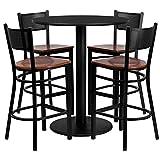 Dyersburg 5pcs Table Set Round 36'' Black Laminate, Cherry Wood Metal Barstool