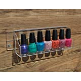 MyGift® Wall Mounted or Door Mounted Clear Acrylic Spice Rack / Nail Polish Essential Oil Storage Organizer Shelf Display