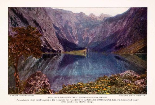 1928-color-print-obersee-bavaria-germany-lake-avalanche-landscape-geology-original-color-print