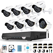 Security Video System AHD 720P 8CH Security Camera System 500GB DVR with 8 1.5MP CCTV Cameras, Weatherproof Surveillance DVR Kit